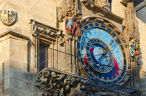 Photo Prague Astronomical Clock, or Orloj on Old Town Hall in Prague, Czech Republic