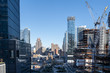 View of the big construction development at the Hudson Yards in Manhattan. This project is located on the West Side of the city and will feature residential, new offices and retail spaces.