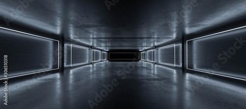 Obraz Underground concrete basement with modern abstract blue lighting industrial grunge concrete background 3d render illustration - fototapety do salonu