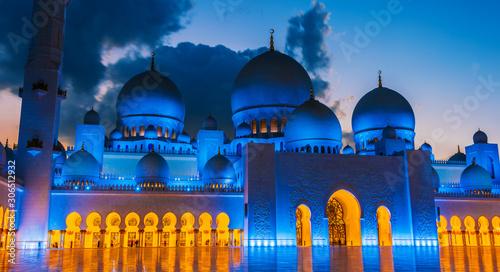 Fényképezés  Sheikh Zayed Grand Mosque in Abu Dhabi, United Arab Emirates