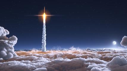 Rocket flies through the clouds on moonlight