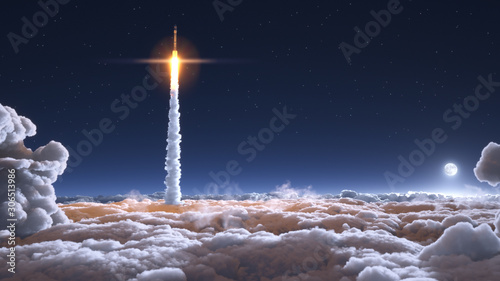 Rocket flies through the clouds on moonlight Canvas Print