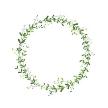 Spring Wreath With Branches, Green Leaves And Berries. Elegant Border For Invitation Design, Greeting Cards And Various Products. Floral Frame As A Delicate Decoration Element. Vector Illustration