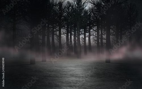 Naklejka na szafę Mroczny las we mgle