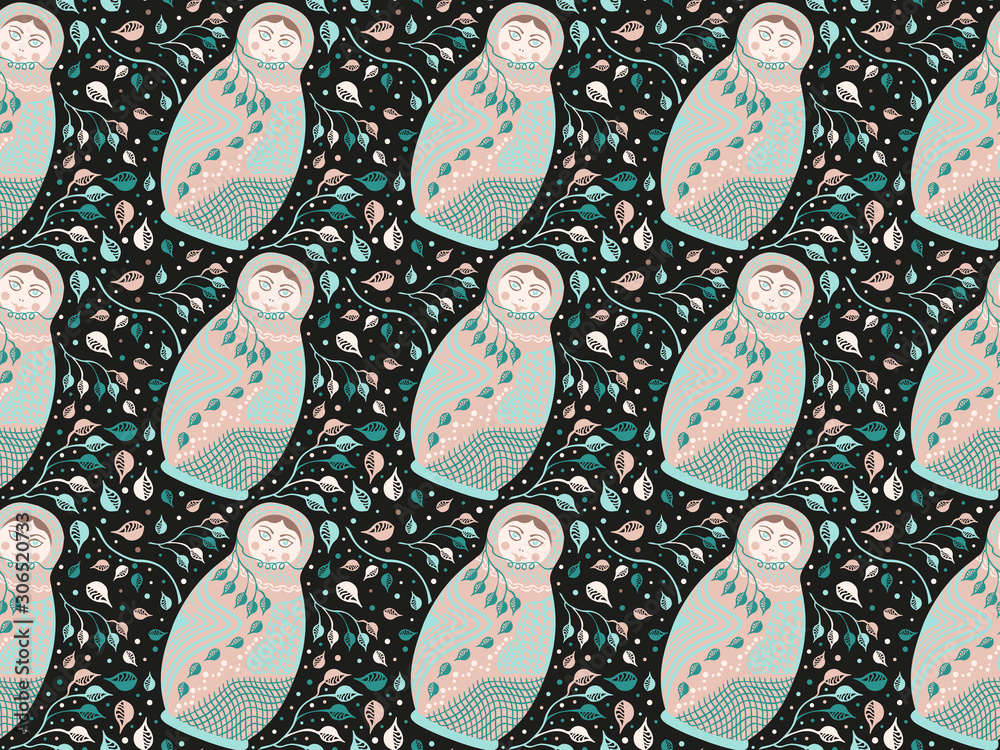 Seamless pattern. Flat nesting dolls in pastel colors with abstract branches, leaves, lines and circles on a black background. Vector.