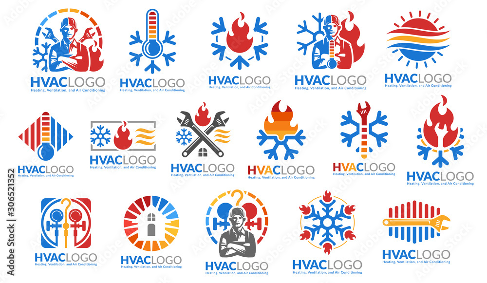 Fototapeta A set of HVAC logo design, heating ventilation and air conditioning, HVAC logo pack template collection