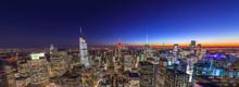 New York City Manhattan Midtown Buildings Skyline Evening Night