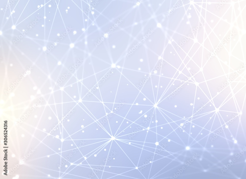 Wonderful high tech technology 3d pattern. Light shimmer blue background. Magical connection system abstract texture. Polygonal network graphic illustration. Bright flare effect.