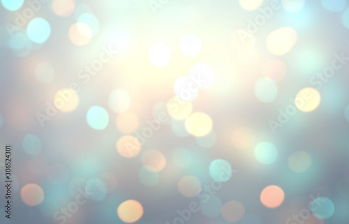 Fotomural  Bright golden bokeh eon blue toned empty background