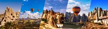 Cappadocia Famous Landmark Collage. Flying Air Ballons, Stone Pillars,  Fairy Chimneys,  Rock Churches, Pillars Pashabag.