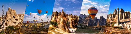 Fototapeta Cappadocia famous landmark collage. Flying air ballons, Stone pillars,  Fairy Chimneys,  Rock Churches, pillars Pashabag. obraz