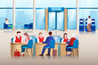 Bank office interior. Bank managers consult clients, approve loans and make financial transactions. Vector illustration