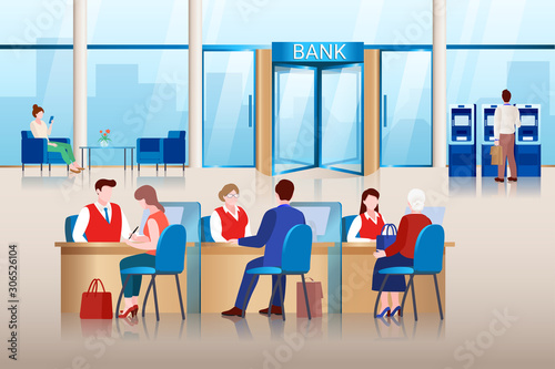 Fototapety, obrazy: Bank office interior. Bank managers consult clients, approve loans and make financial transactions. Vector illustration