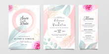 Stylish Wedding Invitation Card Template Set With Watercolor And Flowers Decoration. Floral Illustration For Background, Save The Date, Invitation, Greeting Card, Etc