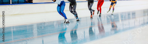 Obraz speed skating competition mass start men athletes skaters - fototapety do salonu