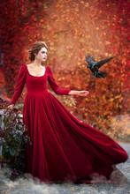 Beautiful Girl In A Burgundy Red Dress Hold Black Raven  On A Background Of Autumn Grape Leaves In The Park, October