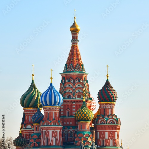 Obraz View of Saint Basil's Cathedral in Moscow, Russia. Famous colourful church. - fototapety do salonu