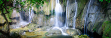 Panoramic Mature Trees And Milky Falls At Thac Voi Waterfall, Thanh Hoa, Vietnam