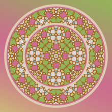 Decorative Plate And Mandala For Interior Design. Home Decor..Creative Color Abstract Geometric Pattern, Vector Seamless, Can Be Used For Printing Onto Fabric, Interior, Design, Textile