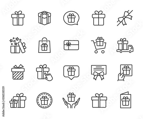 Fototapeta Vector set of gift line icons. Contains icons of box, bow, surprise, certificate, gift card and more. Pixel perfect, scalable 24, 48, 96 pixels. obraz na płótnie