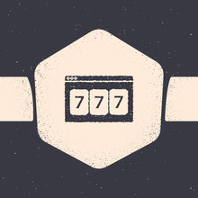 Grunge Online Slot Machine With Lucky Sevens Jackpot Icon Isolated On Grey Background. Online Casino. Monochrome Vintage Drawing. Vector Illustration