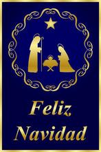 Tarjeta Azul Marino De Navidad...