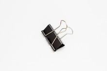 One Black Binder Clip For Papers Isolated On White Background