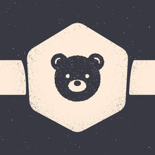 Grunge Teddy Bear Plush Toy Icon Isolated On Grey Background. Monochrome Vintage Drawing. Vector Illustration