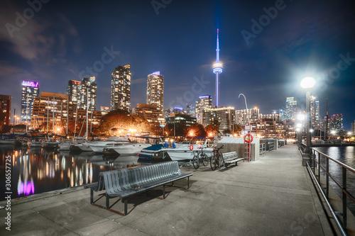 Toronto, Canada Night Skyline from Marina Quay