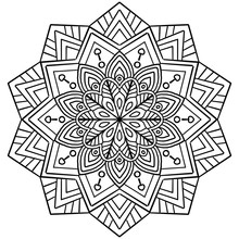 Coloring Pages. Coloring Book For Kids And Adults. Coloring Mandala Pictures Of Floral Patterns On A White Background
