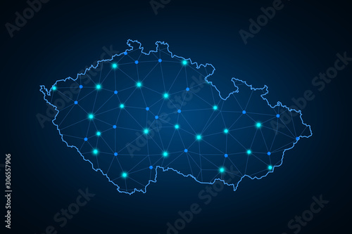 Abstract mesh line and point scales on dark background with Map of czech Republic Canvas Print