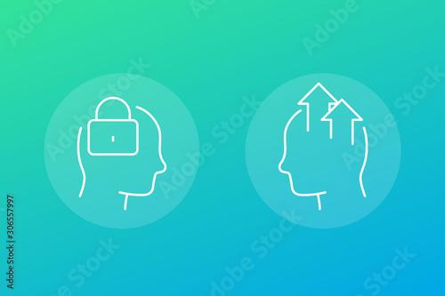 Obraz na płótnie Fixed and growth mindset icons, linear vector