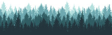 Forest Background, Nature, Landscape. Pine, Spruce, Christmas Tree. Fog Evergreen Coniferous Trees. Silhouette Vector