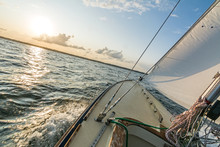 Sailing Boat Sailing Fast Into...
