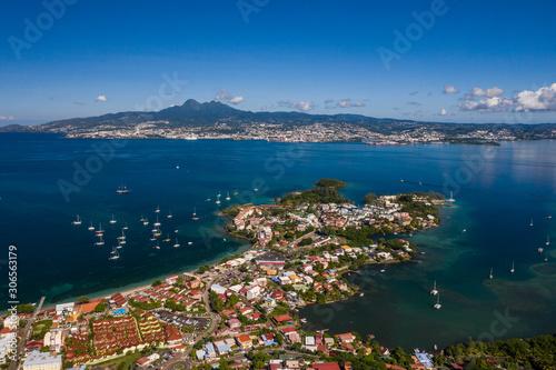 Vue aérienne de la Pointe du Bout, en Martinique, par très beau temps, avec la b Canvas Print