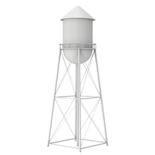 Water Tower. Industrial Construction With Water Tank. 3d Render Isolated On White