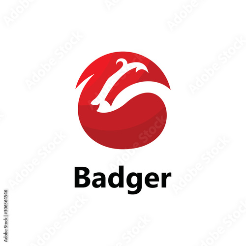 Photo Logo template with red badger icon