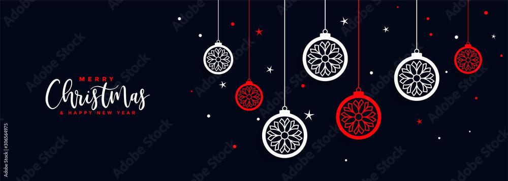 Fototapeta merry christmas ball decoration banner festival design