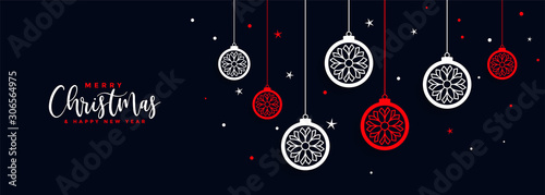 Obraz merry christmas ball decoration banner festival design - fototapety do salonu