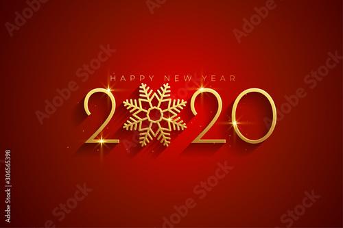Obraz elegant red and gold happy new year 2020 background card - fototapety do salonu