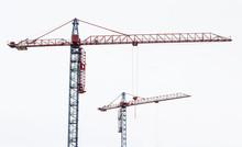 Two Tower Cranes. Hoisting Cra...