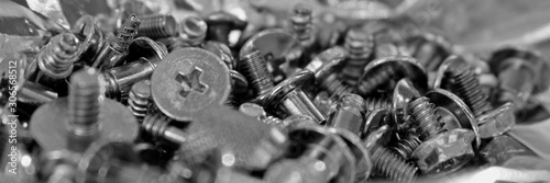 bolts and nuts made of metal monochrome macro, computer assembly, Maintenance Canvas Print