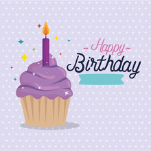 Cupcake Design, Happy Birthday Celebration Decoration Party Festive And Surprise Theme Vector Illustration