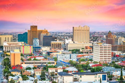 El Paso, Texas, USA  downtown city skyline at dusk Wallpaper Mural