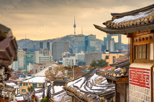Seoul, South Korea at the Bukchon Hanok historic district. Wallpaper Mural
