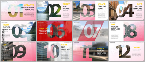 Pinturas sobre lienzo  Minimal presentations design, portfolio vector templates with numbers