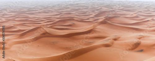 Photo Sand Dune in the Sahara / In the Sahara Desert, sand dunes to the horizon, Morocco, Africa