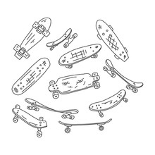 Flyer Skateboard Hand Drawn Sk...