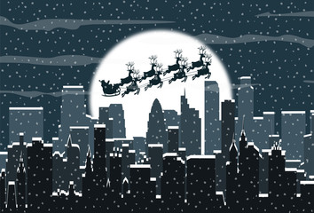 Winter city silhouette. Santa sleigh over urban skyline, moon and sky. Christmas and new year, winter urban cityscape vector illustration