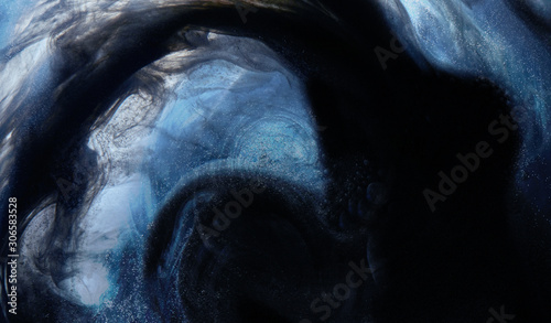 Outer space abstract background, mysterious black matter. Mystical creature in the bowels of the ocean - 306583528